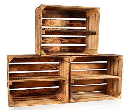 CHICCIE 3 Set Geflammte Obstkisten - Lange Ablage Holzkisten Weinkisten Holz Kisten Apfelkisten Obstkiste Gebrannt 50 x 40 x 30cm