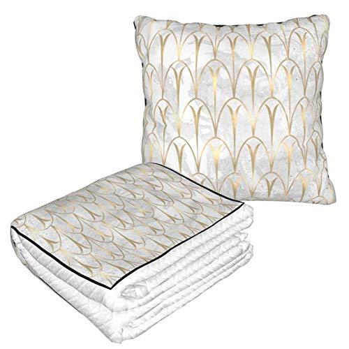 Manta de almohada de terciopelo suave 2 en 1 con bolsa suave balanzas Art Deco Geometría Blanco Gris Oro Mármol Funda de almohada para el hogar, avión, coche, viajes, películas
