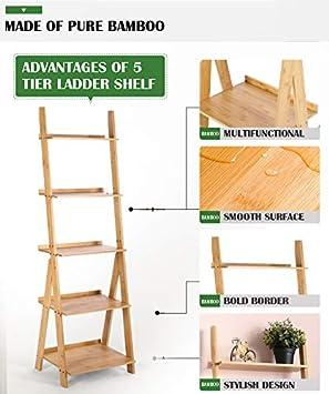 Bathroom HYNAWIN Ladder Shelf 5-Tier Bookshelf Corner Display Bookcase for Living Room Kitchen Office Bamboo Storage Rack Shelves Wall Leaning Shelf,Free Standing Plant Flower Stand