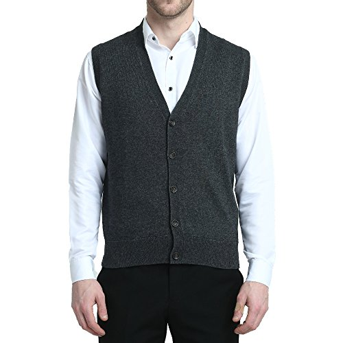 Kallspin Relaxed Fit Mens V-Neck Vest Sweater Cashmere Wool Blend Front Button (Charcoal, XL)