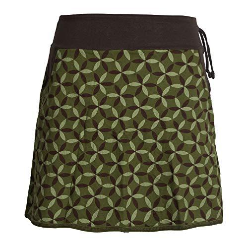Vishes - Alternative Bekleidung - Damen Baumwoll-Rock, 70er Jahre Retro Facetten, Blumen-Druck, Taschen Olive 42