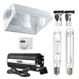 iPower 400 Watt HPS MH Digital Dimmable Grow Light System Kits Air Cooled Reflector Hood Set, White (GLSETX400DHMACDIGIT)