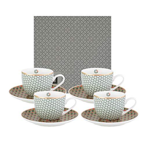 IMAGES D'ORIENT Opera Espresso-Set bunt, 8-TLG, 4X Espresso-Tassen mit Untertassen, 90 ml, Porzellan, orientalisches Design mit geometrischen Mustern, inkl. Geschenk-Box