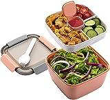 Porta Pranzo Lunch Box con Posate 3 Scomparti per Insalata e Snack Bento Box, insalatiera con Contenitore per condimenti Adatto a Microonde e Lavastoviglie per Adulti e Bambini (Rose)