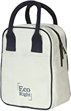 EcoRight Reusable Cotton Canvas EcoFriendly Insulated Cooler Washable Zipper Lunch Tote Bag for Men, Women, Adults Beige Size: Medium