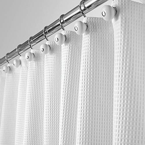"mDesign Hotel Quality Polyester/Cotton Blend Fabric Shower Curtain with Waffle Weave and Rust-Resistant Metal Grommets for Bathroom Showers and Bathtubs - 72"" x 72"" - White"