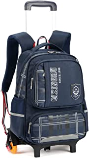 GLJJQMY Wheeled Backpack Student Bag with Wheel Trolley Waterproof Travel Trolley Bag Trolley Backpack (Color : Sapphire, Size : 41x15x31cm)