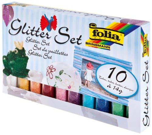 folia 57807 - Glitter Set mit 10 Röhrchen à 14 Gramm Glitterpulver - ideal zum Verzieren und Bestreuen ihrer Bastelarbeiten