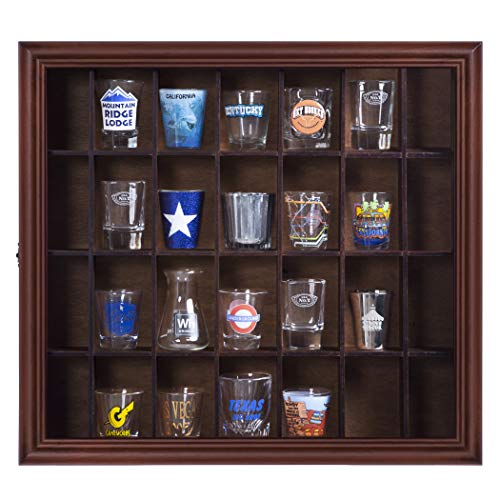 Gallery Solutions 18x16 Shot Glass Display Case with Hinged Front,Walnut Organization