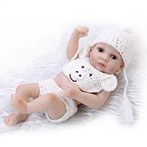 Nicery Reborn Baby Doll Réincarné bébé Poupée Doux Simulation Silicone Vinyle 10 Pouces 26cm Qui Semble Vivant Imperméable Jouet Vif réaliste Âge 3+ Blanc Garçon