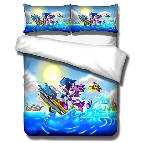 3D S-onic The H-edgehog Juego de ropa de cama Super M-ario Bros Fundas de edredón Fundas de almohada Twin Full Queen King Conjuntos de ropa de cama