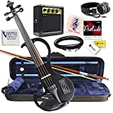 Electric Violin Bunnel Edge Outfit 4/4 Full Size (BLACK)- Electric Amp, Carrying Case and Accessories Included - Headphone Jack - Highest Quality with Piezo ceramic pick-up