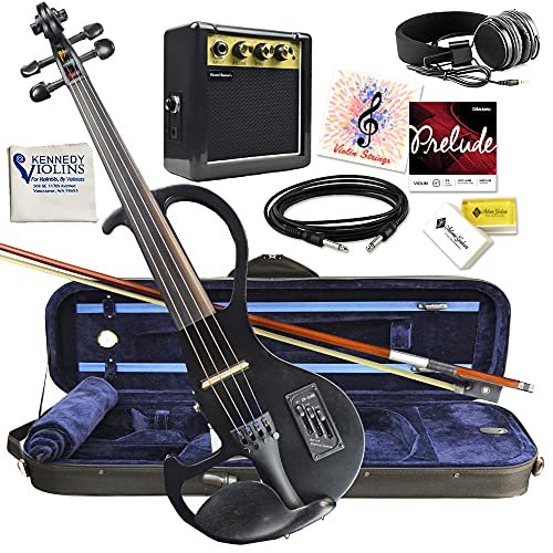 Electric Violin Bunnel Edge Outfit 4/4 Full Size (Clear) (BLACK)- Carrying Case and Accessories Included - Headphone Jack - Highest Quality with Piezo ceramic pick-up By Kennedy Violins