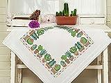Kamaca, Set per ricamo a punto croce, tovaglia con motivo Cactus, in cotone, da ricamare