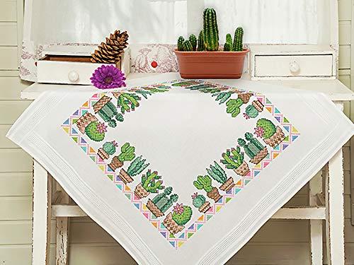 Kamaca - Kit de punto de cruz para mantel con diseño de cactus, con plantilla de bordado, de algodón, para coser uno mismo