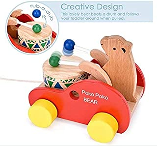 Wooden Pull Along Toy, Kids Creative Educational Toy Bear Drum Solid Wood Pull Toys