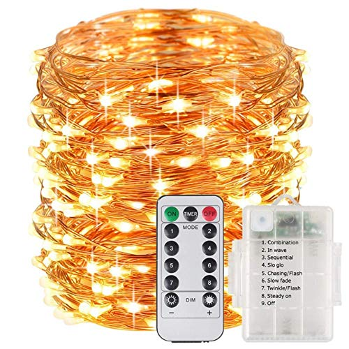 Christmas Lights, Fairy Lights String Lights Battery Operated Waterproof 8 Modes 100 LED 33ft String Lights Copper Wire Firefly Lights Remote Control Halloween Christmas Decor Lights (Warm White)