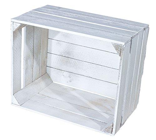 Juego de 4 cajas de madera estilo Shabby Chic, estilo vintage, 50 x 40 x 30 cm, color blanco