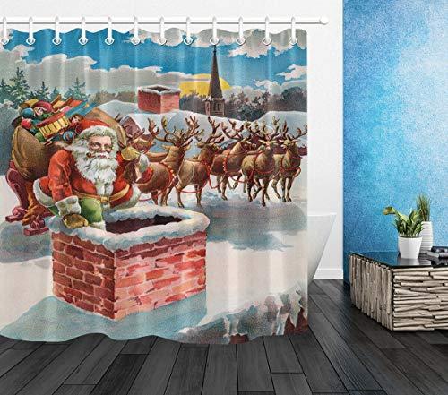 NR Xmas Santa Reindeer and Sleigh on the Roof Top 3D printing moisture-proof, mold-proof, bathroom tag, tarpaulin, 180X180CM