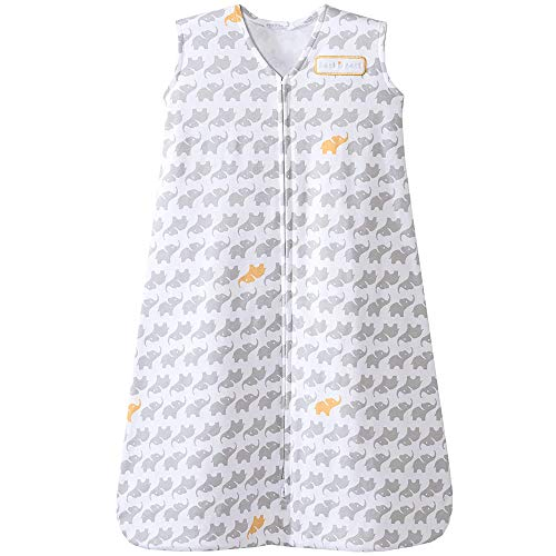 Halo Sleepsack Cotton Wearable Blanket, Grey Elephant Graphics, Medium
