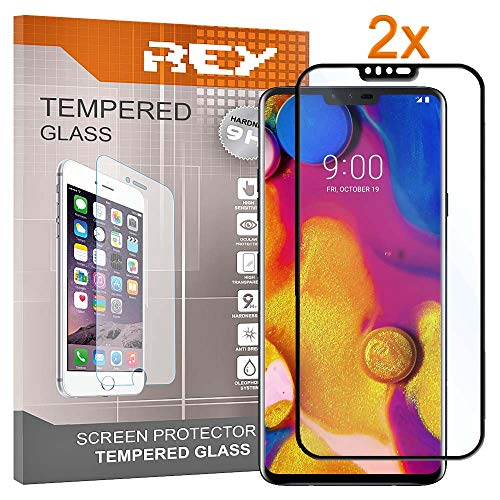 REY Pack 2X Panzerglas Schutzfolie für LG V40 THINQ, Schwarz, Bildschirmschutzfolie 9H+, Polycarbonat, Festigkeit, Anti-Kratzen, Anti-Öl, Anti-Bläschen, 3D / 4D / 5D