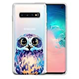 FINCIBO Case Compatible with Samsung Galaxy S10 6.1 inch, Clear Transparent TPU Silicone Protector Case Cover Soft Gel Skin for Galaxy S10 (NOT FIT S10 Plus) - Blue Owl