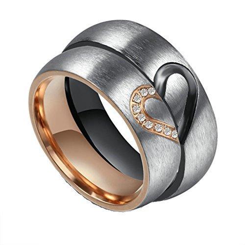 Bishilin Edelstahl Herz Partnerringe Zirkonia Schwarz Silber Rosegold Herren Damen Ring Mit Gravur Freundschaftsringe Damen Gr. 54 (17.2) & Herren Gr. 62 (19.7)