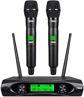 TBAXO Wireless Microphone System 2 Channel Pro Audio UHF 2 Handheld Mic Karaoke Dynamic for Karaoke System Church Speaking...