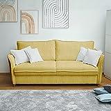 place to be. Sofá cama de 160 cm de ancho con cajón de cama de 3 plazas, sofá con función de dormir plegable, color amarillo M14023 con protección antimanchas, roble macizo.