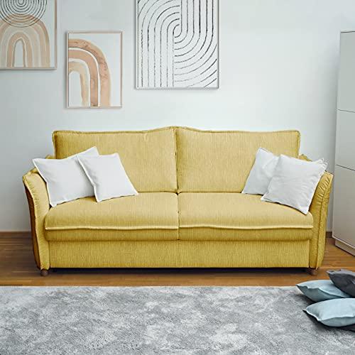 place to be. M14023 - Sofá cama (140 cm de ancho, con cajón, 2 plazas, plegable, con función de dormir, madera de haya maciza), color amarillo