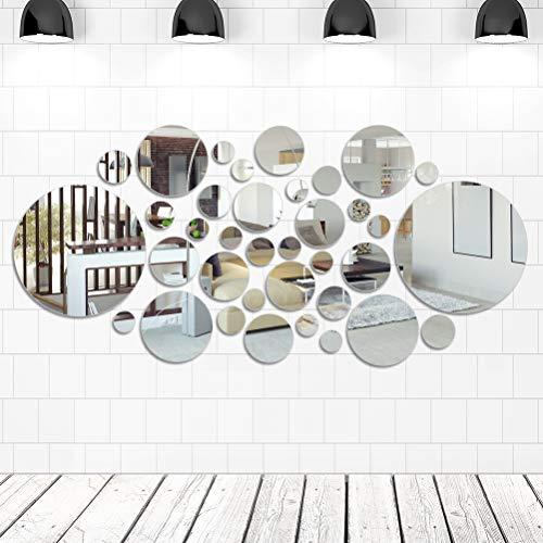FOCCTS 16pcs Gran Redondo de Espejo Hojas con 6 Tamaños Diferentes de la Pared Auto-Adhesivo Círculo Redondo Espejos para la Decoración del Hogar (10-30cm)