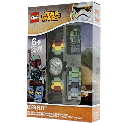 LEGO Star Wars 8020448 Orologio da polso componibile per bambini con cinturino a maglie e minifigure Boba Fett | per i bambini | verde/marrone | ragazzo/ragazza | Diametro di 25 cm | Quarzo analogico| ufficiale