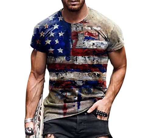 Camiseta Estampada a la Moda para Hombre, Camisetas de Manga Corta con Cuello Redondo y Estampado de león con...