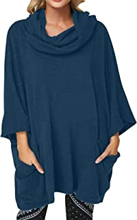 Women's Batwing Sleeve Blouse Scarf Collar Cowl Neck Tops Plus Size 3/4 Sleeve with Pullover Blouse