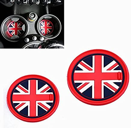 VCiiC (2 73mm Red Union Jack UK Flag Style Soft Silicone Cup Holder Coasters for Mini Cooper R55 R56 R57 R58 R59 Front Cup Holders