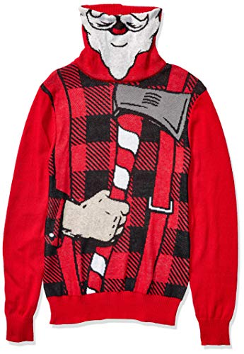 Hybrid Apparel Men's Ugly Christmas Sweater, Candy Cane/Red, Small