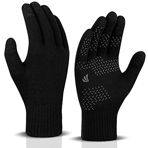 Anqier Touchscreen Handschuhe Herren Damen Winter Strickhandschuhe Elastisch Leicht Fahrradhandschuhe Wolle Warm Bequem Laufhandschuhe Atmungsaktiv Sporthandschuhe