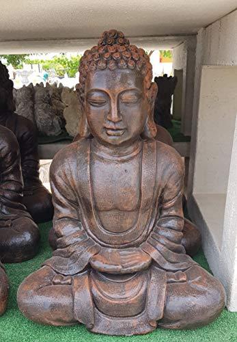 AnaParra Estatua Buda Tissa delÉxito Figura Decorativa para Jardín o Exterior Hecho de Piedra Artificial | Figura Buda 57cm. Color Teja