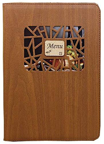 全4色 小窓付き メニュー ブック ファイル A4 木目 料理 中閉じ バインダー (ダークブラウン)