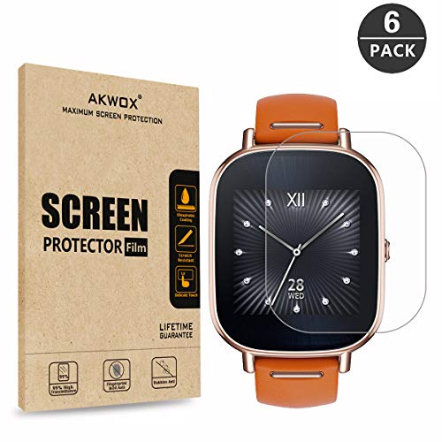AKWOX [6-Pack] Screen Protector for ASUS ZenWatch 2-1.45 Inch, Full Coverage Anti-Bubble Screen Protective Film