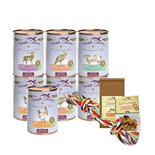 Terra Canis Pacchetto introduttivo M - Senior, 7x400g, 50g Canireo, 12g Gartendrops & Goodie I Alimento premium per cani con ingredienti di autentica qualità human-grade al 100%
