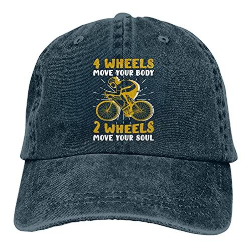 Clipeyh 4 ruote movimento corpo 2 ruote Soul bicicletta piloti cappello, berretto da baseball regolabile lavabile cotone camionista Cap unisex, Marina Militare, Taglia unica