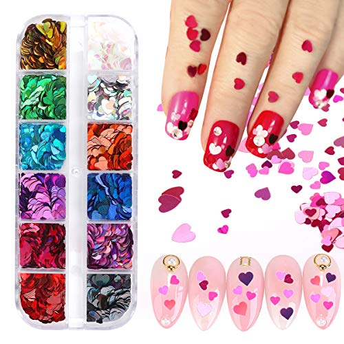 12 Colors Nail Art Glitters - 3D Nail Sequin Acrylic Paillettes, Colorful Flake Nails Supply Nail Sparkle Glitter Sticker Decals for Nail Art Decoration (Maple Leaf/Butterfly/Star/Heart) (Heart)