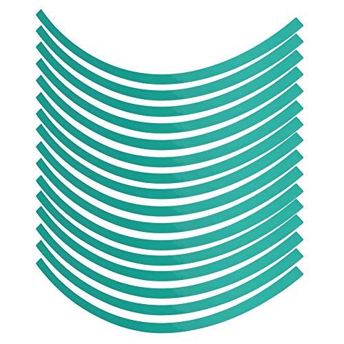 Akozon Tiras Adhesivas Reflectantes para Rueda Universal Coche Motorcycel Rueda Tela a Rayas Reflectante Etiqueta engomada de la Cinta de la Etiqueta Película de decoración(Verde)