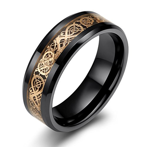 SOMEN TUNGSTEN 8mm Black Ceramic Ring with Rose Gold Celtic Dragon Pattern Inlay Wedding Band for Men Size 9