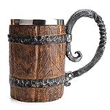 NICEWL Madera Medieval Cerveza Taza Tankard,Hombres Hechos A Mano de Acero Inoxidable Capacidad de Revestimiento 600Ml Taza de Bebida,Resina de Madera Leche Té de Agua Vasos de Regalo