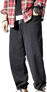 unknow YYXDP Jeans da Uomo Elasticizzati in Vita, Pantaloni Casual Elastici Larghi Oversize, Jeans Regolari da Uomo Elasti...