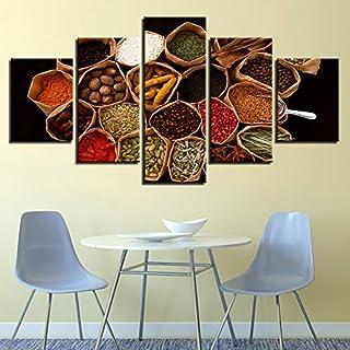 SHUII Marco Pinturas sobre Lienzo Decorwork para el hogar 5 Piezas de Sri Lanka Especias Imágenes HD Imprime Granos Comida Cartel Modular Cocina Arte de la Pared 20x35cm20x45cm20x55cm