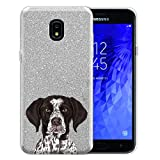 FINCIBO Case Compatible with Samsung Galaxy J7 J737 2018 5.5 inch, Shiny Silver Bling Glitter TPU Protector Cover Case for Galaxy J7 2018 (NOT FIT J7 2017) - Cute German Shorthaired Pointer Dog