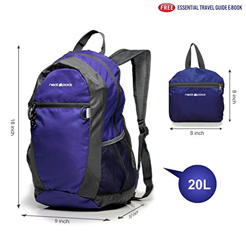 NeatPack Durable, Foldable Nylon Backpack / Daypack with Security Zippers, 20L - Navy
